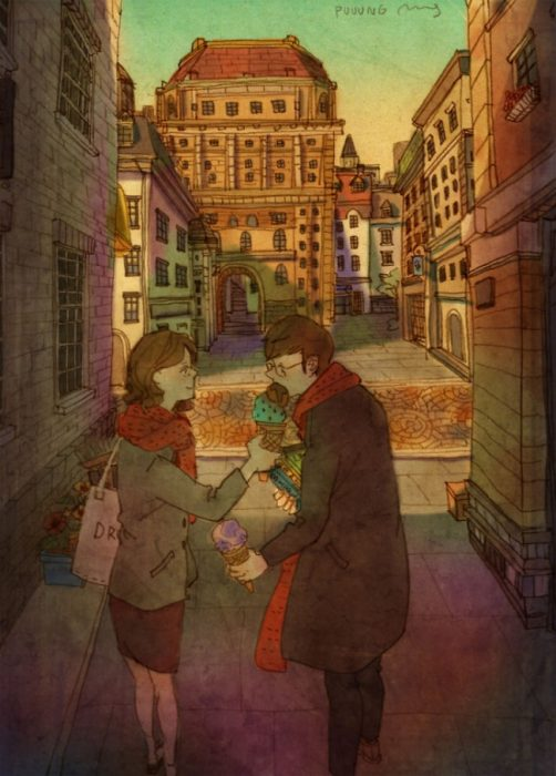 Ilustración de pareja comiendo helado