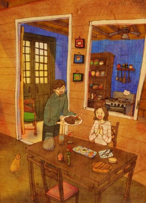 Ilustración de pareja sorprendiéndose con una cena