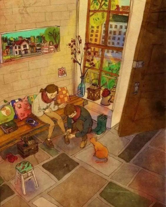 Ilustración de pareja atándose los zapatos