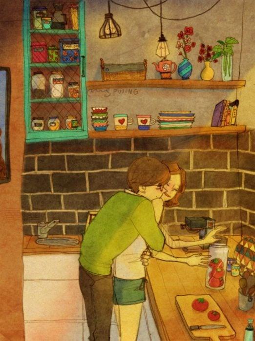 Ilustración de pareja lavando los platos de la cena
