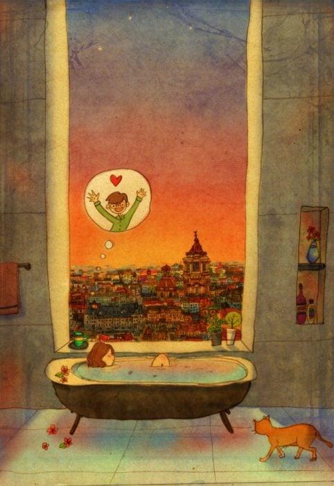Ilustración de pareja tomando un baño y pensando en el otro