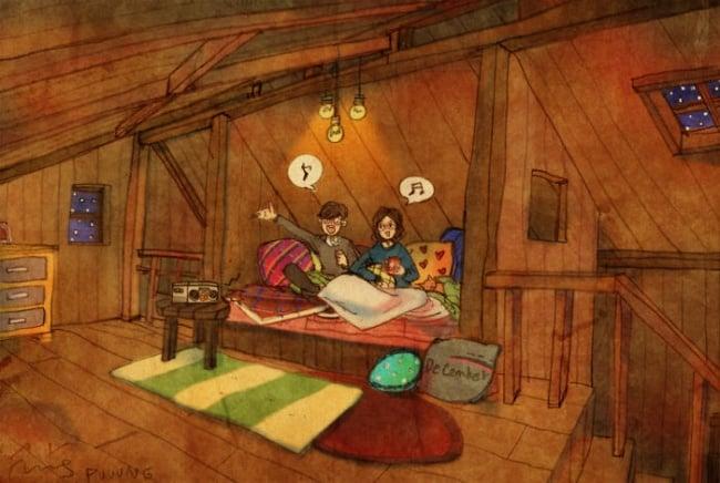 Ilustración de pareja comiendo en el cuarto
