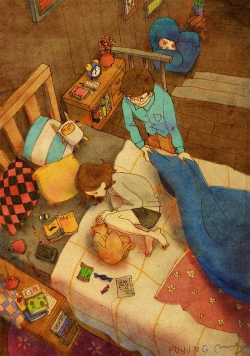 Ilustración de pareja durmiendo juntos