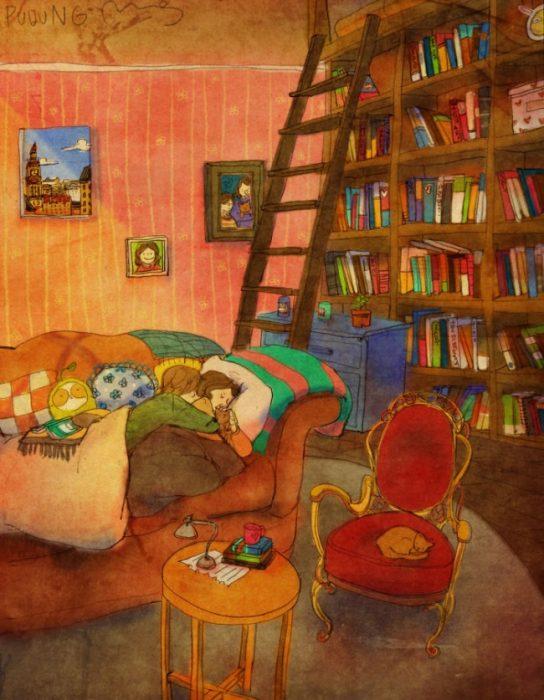 Ilustración de pareja leyendo un libro