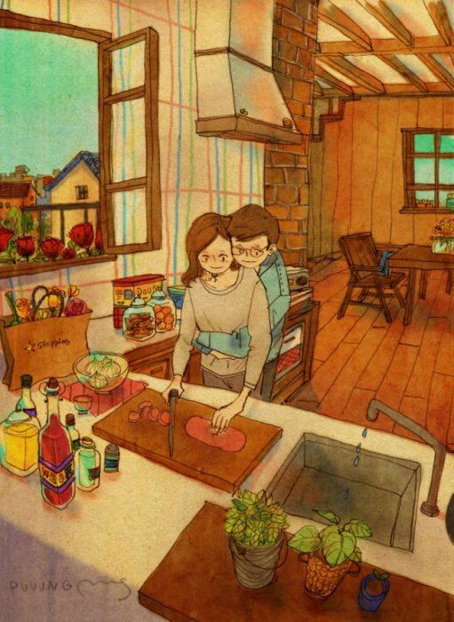 Ilustración de pareja cocinando juntos