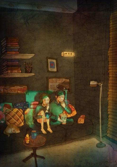 Ilustración de pareja mirando televisión por las noches