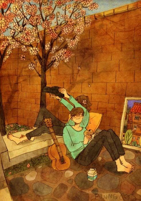 Ilustración de pareja disfrutando de su tiempo al aire libre