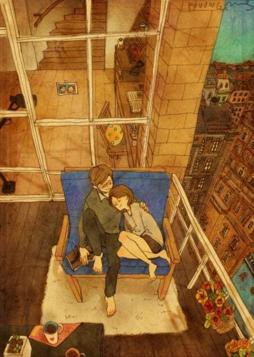 Ilustración de pareja conversando en la terraza