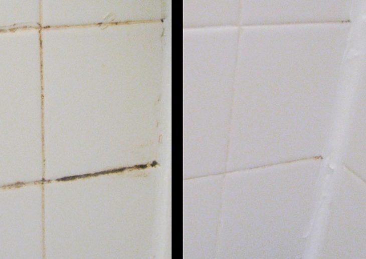 azulejos del baño sucios y limpios