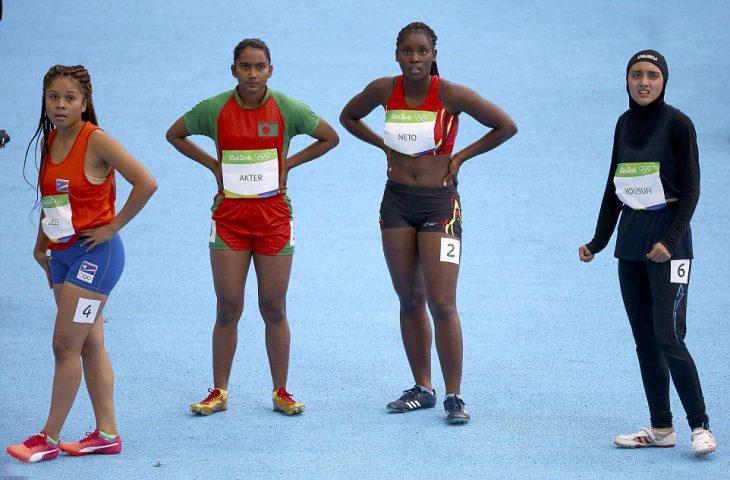 Competidoras de la carrera de 100 metros de los Juegos Olímpicos