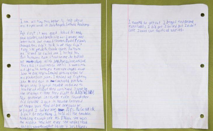 Carta de suicidio de un niño de 13 años que era acosado en la escuela
