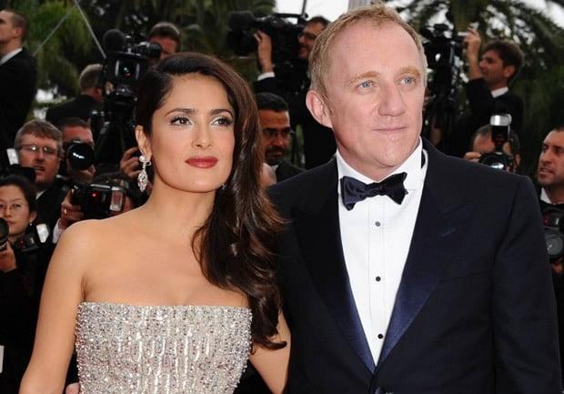 Salma Hayek junto a su esposo