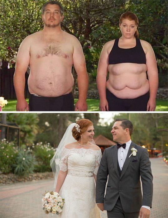 Pareja de novios antes y después de perder peso para el día de su boda