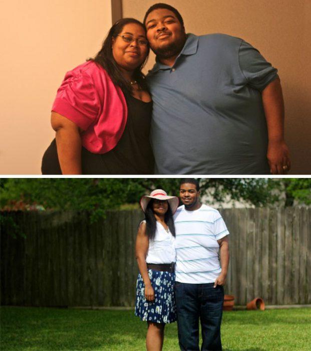 Pareja de novios antes y después de perder peso