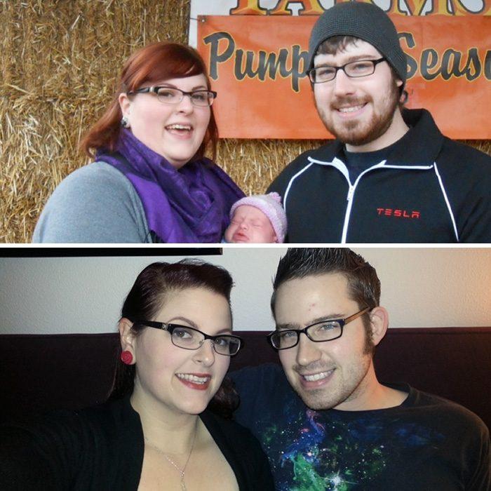 Pareja sosteniendo a su bebé antes y después de perder peso
