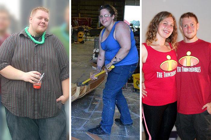 Pareja mostrando su antes y después de perder peso