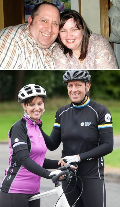 Pareja antes y después de perder peso con ejercicio
