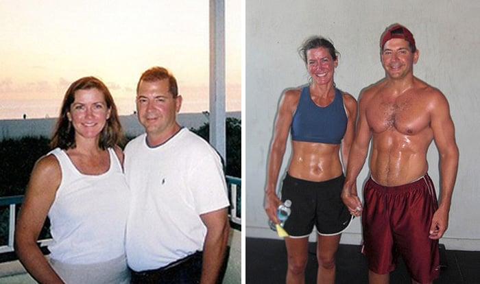 Pareja antes y después de perder peso