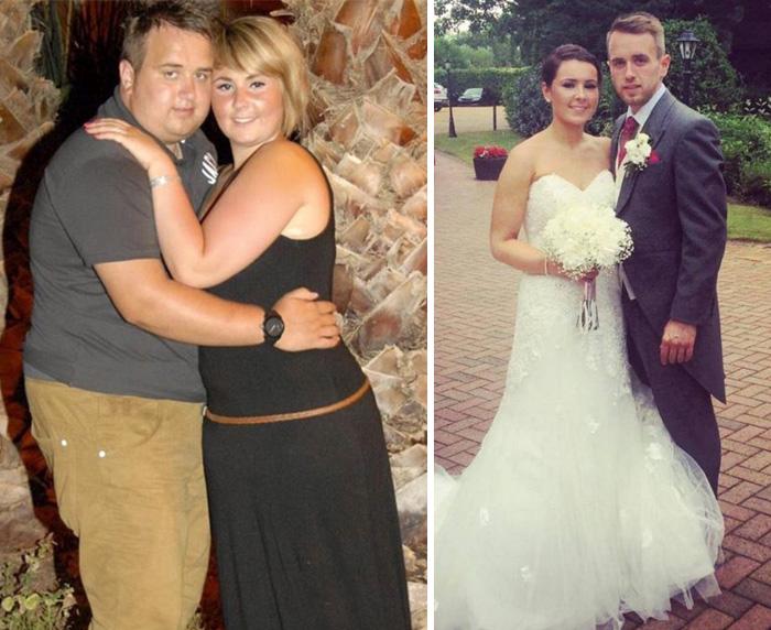 Pareja antes y después de la gran perdida de peso para el día de su boda