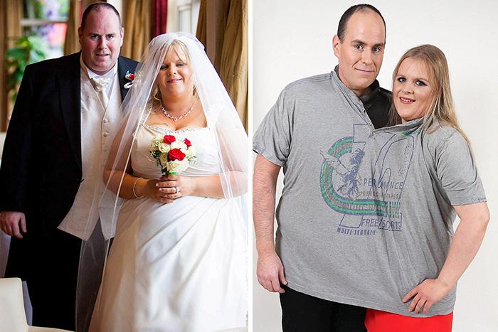 Pareja antes y después de perder peso luego de su boda