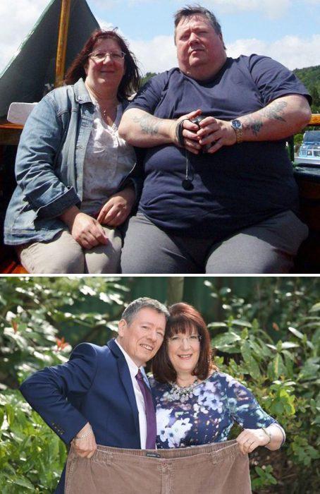 Pareja mostrando el antes y después de perder peso