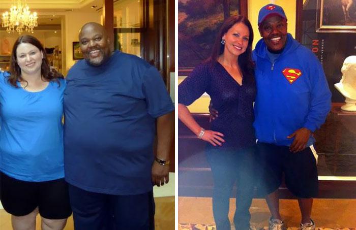 Pareja mostrando el antes y después de perder peso juntos
