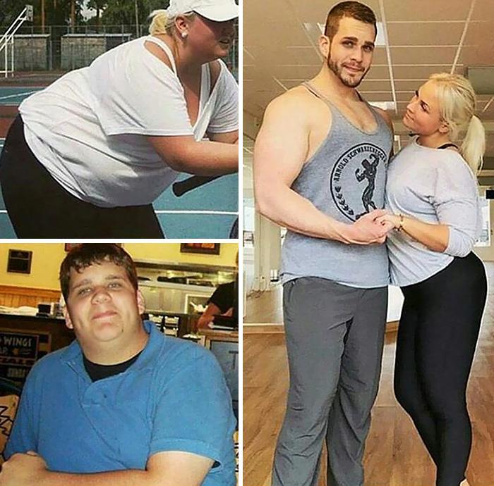 Pareja mostrando el antes y después de perder peso con el ejercicio