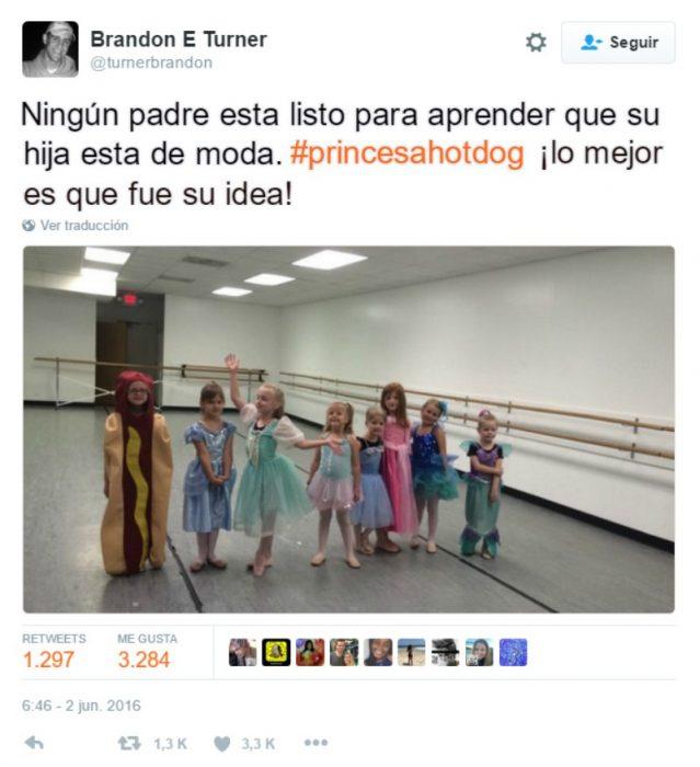 captura de pantalla de twitter niña vestida de hotdog