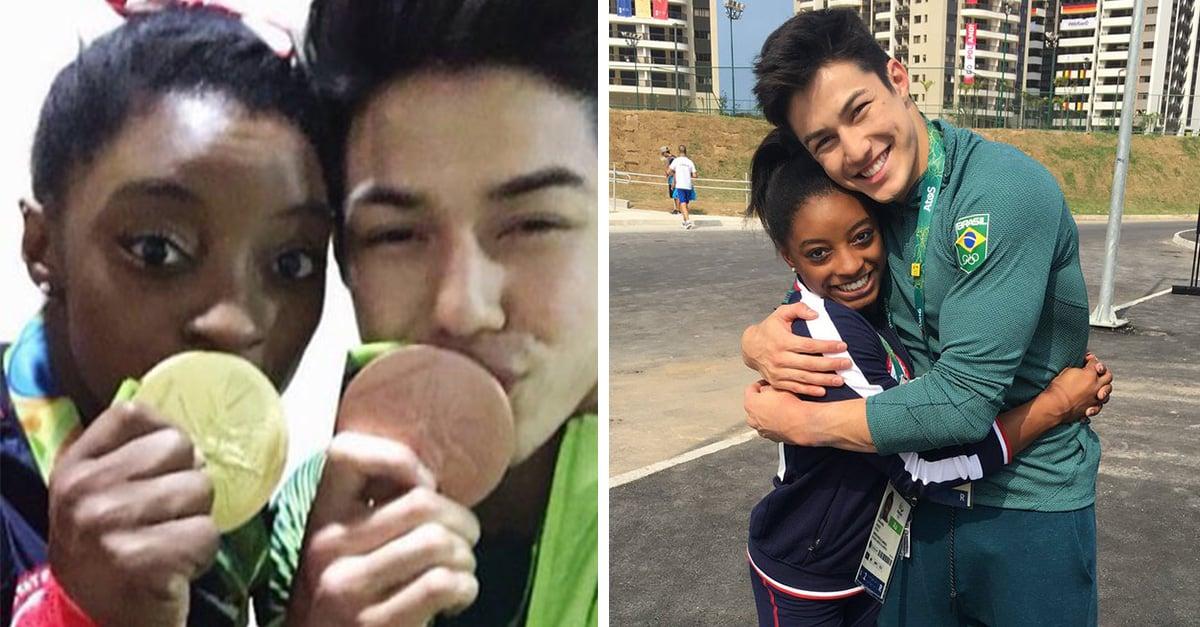 la gimnasta Simone Biles se lleva el corazón de gimnasta brasileño