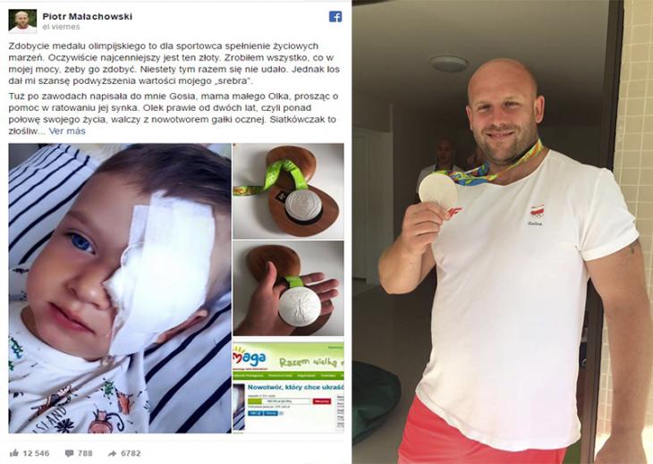 publicacion facebook niño con parche en ojo y hombre con medalla de plata