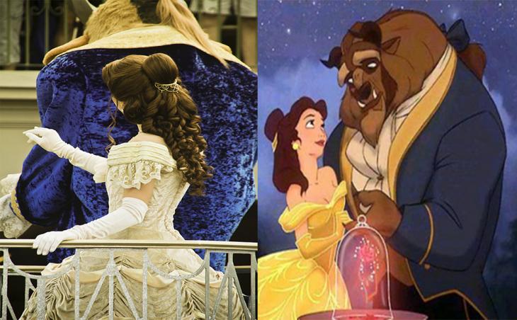 princesa bella de la bella y la bestia en la vida real y en caricatura
