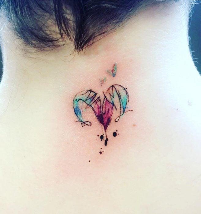 Tatuaje del signo aries en colores