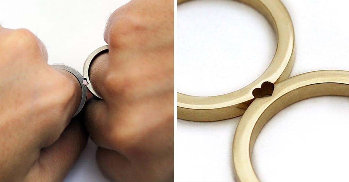 Estos anillos de boda se convierten en uno solo cuando se unen