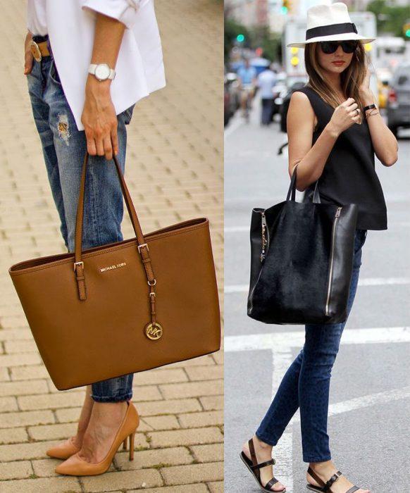 Mujeres altas con bolsas grandes.