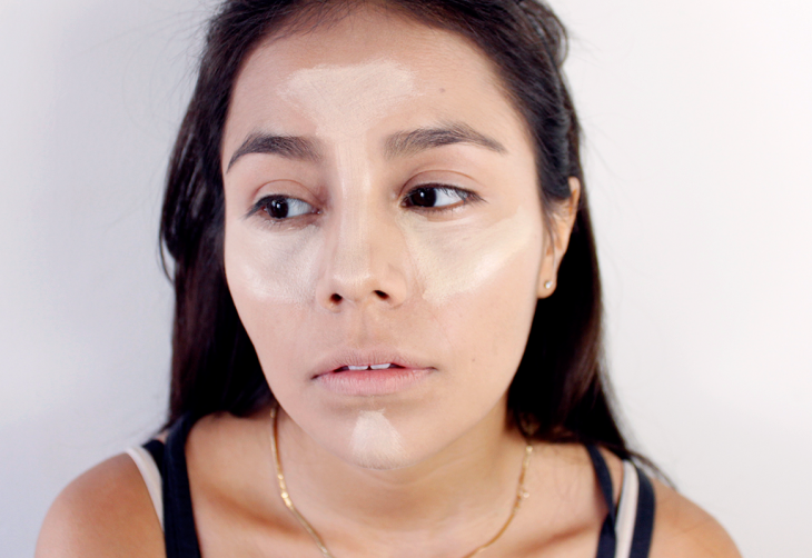Woman with concealer in the face.