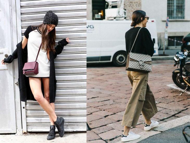 Mujeres con bolsas muy pequeñas.