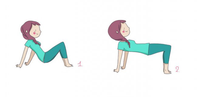Bridge position to tone the buttocks.