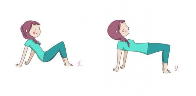 Bridge position to tone the buttocks.