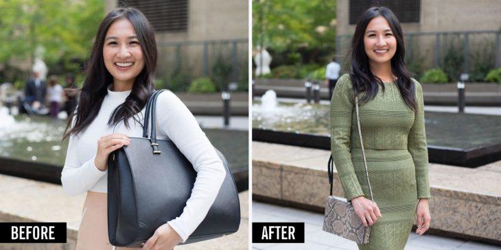 Antes y después de una mujer con bolso.