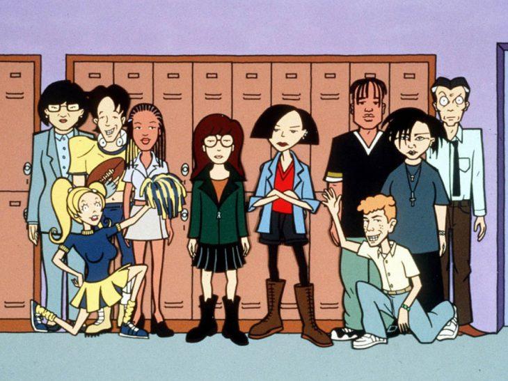 Caricatura grupo de jóvenes y casilleros