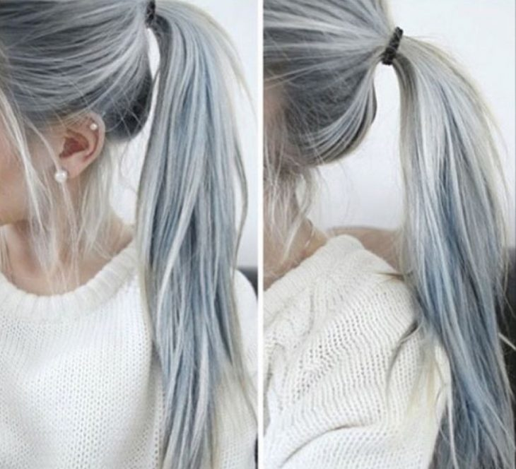 Coleta de cabello con color gris plateado.