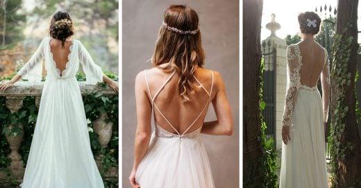 vestidos de novia con escote en la espalda que seguramente amarás