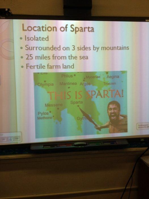 Presentación de power point con el personaje de Esparta.