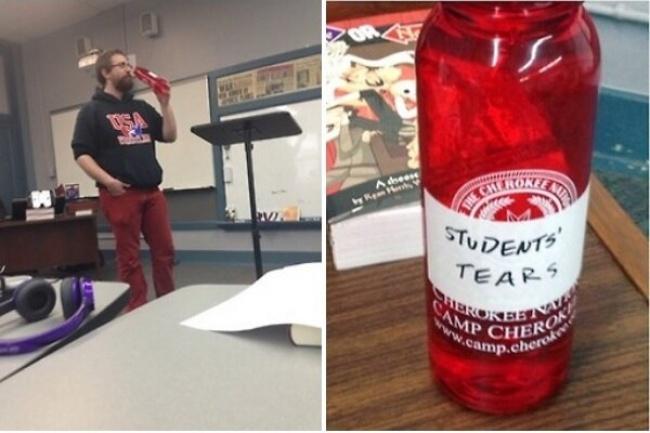 """maestro bebiendo las """"lágrimas de los estudiantes""""."""