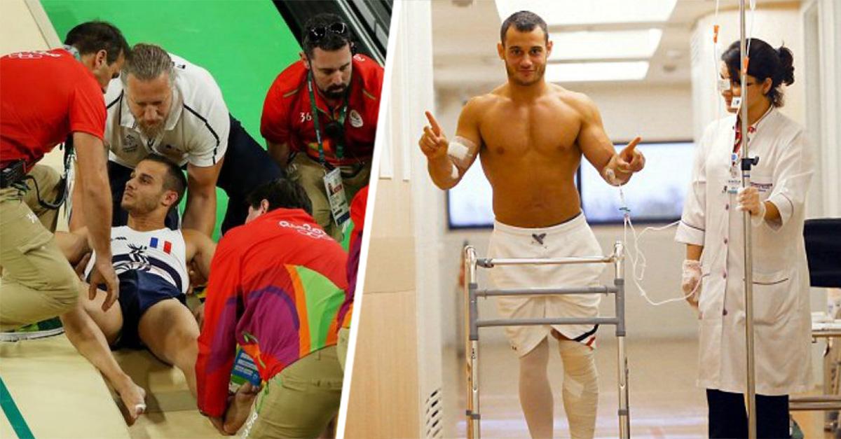 Después de su terrible fractura, gimnasta francés envía un emotivo mensaje