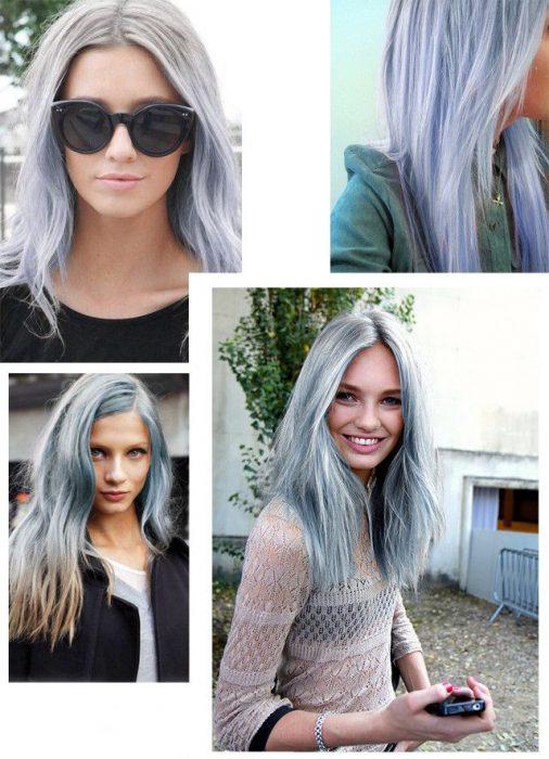 Fotografías de muchachas con cabello gris.