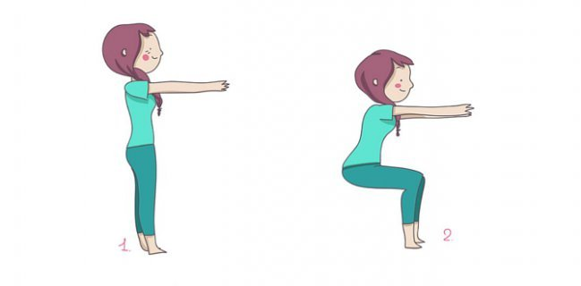 Squats to tone the buttocks.