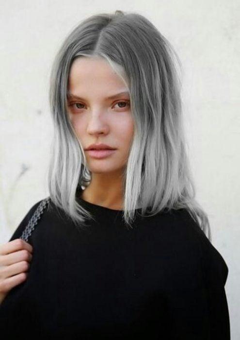 Modelo con cabello gris en dos tonos.