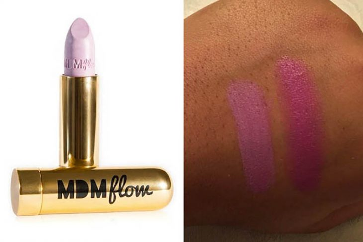 lipstick color rosa pastel sobre piel color morena