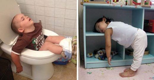 Estas fotos muestran que los niños pueden dormir donde sea